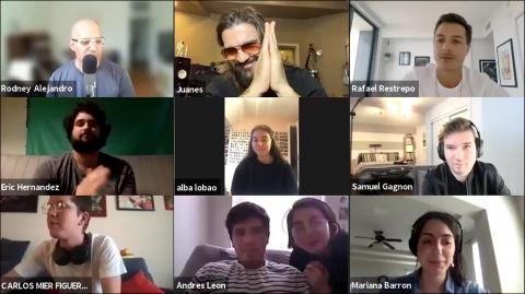 Screen shot of Berklee's Visiting Artist Series event with Juanes