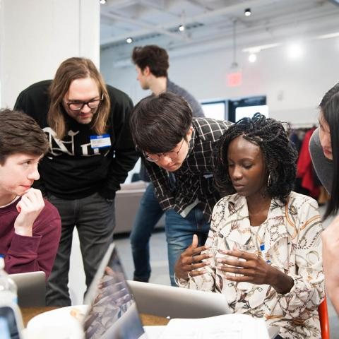 Students participating in a hack-a-thon
