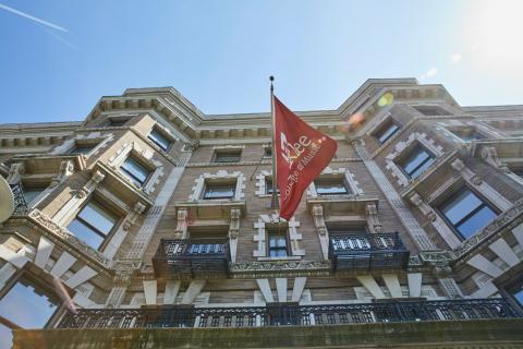 Berklee flag in Boston