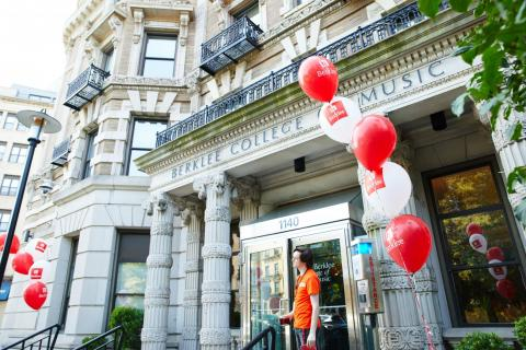 Berklee College of Music with red and white balloons