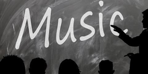 Pictured: Classroom Whiteboard with text 'Music'