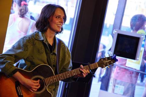 student performing at the berklee bookstore open mic