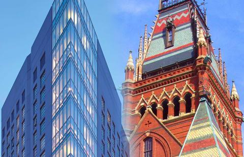 Harvard and Berklee buildings shown side-by-side